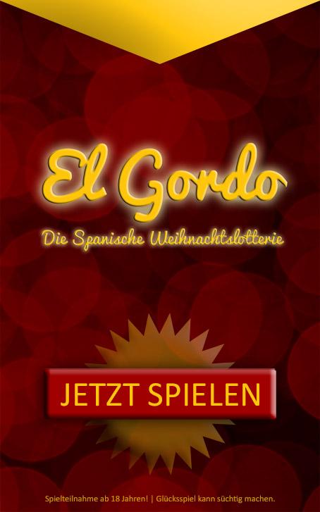 Banner: Spanische Weihnachtslotterie jetzt spielen und El Gordo gewinnen